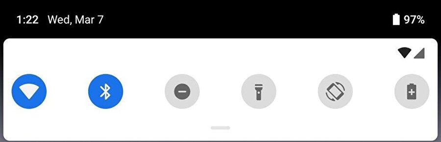 Android P, daha kolay bir hızlı ayarlar menüsü sunuyor. Burada menülerin açılabilir yapısı da önemli.