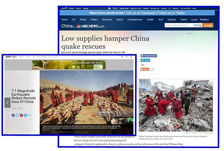 Budist rahiplerin Müslümanları yaktığına dair iddiaları desteklemek için kulllanılan fotoğraflar, Çin'de meydana gelen bir depremin ardından çekilmişti.