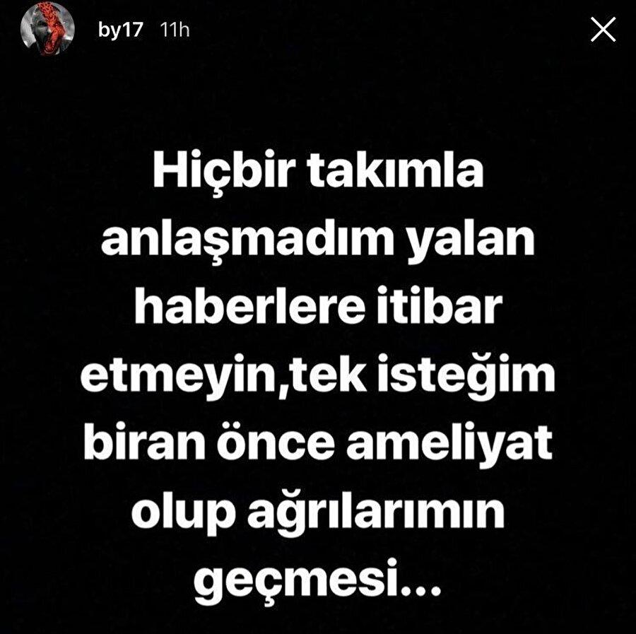 Burak Yılmaz'ın Instagram hesabından yayınladığı mesaj
