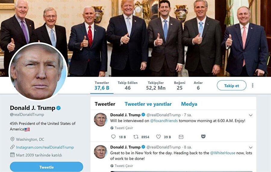 Donald Trump'ı Twitter'da 52.2 milyon kişi takip ediyor.