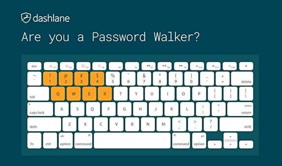 Uzmanlar, kullanıcıların klavyedeki bitişik harf ve rakamları da çok kullandığını gösteriyor.