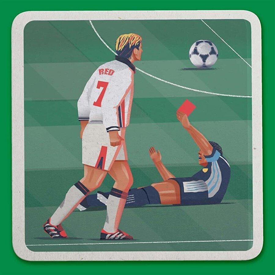 David Beckham'ın 1998 Dünya Kupası'nda Diego Simeone'ye yaptığı hareketin ardından gördüğü kırmızı kart. Raj Dhunna / Guardian