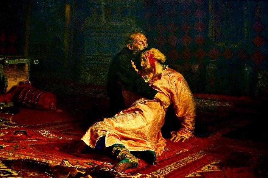 """Kafkasları ele geçiren Ivan, """"Korkunç"""" namıyla biliniyordu. Şizofreni hastası olduğu düşünülen Çar'ın, öz oğlunu öldürdüğü sahne, kendisinden yıllar sonra, Ilya Repin tarafından böyle resmedilmişti."""