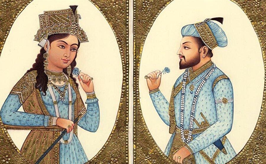 Şah Cihan ve Mümtaz Mahal'i resmeden bir tasvir.