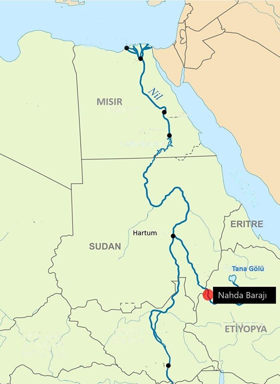 Nahda barajının Nil nehri üzerindeki konumu.