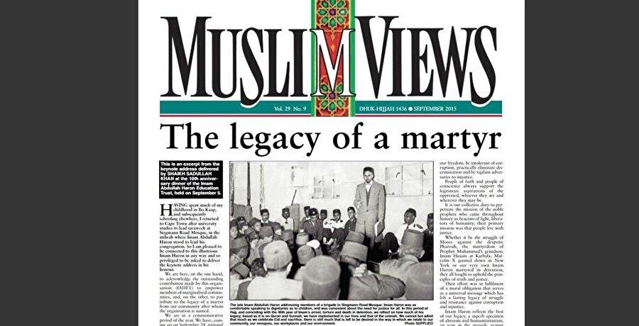 """İslami haberler gazetesinin halefi olan İslami görüşler gazetesinin """"Şehit'in Mirası"""" manşetiyle Abdullah Harun'u konu alan sayısı."""