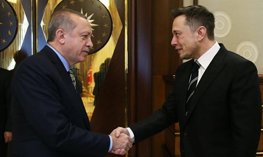 Cumhurbaşkanı Erdoğan ve Elon Musk'ın görüşmesinden bir görüntü.