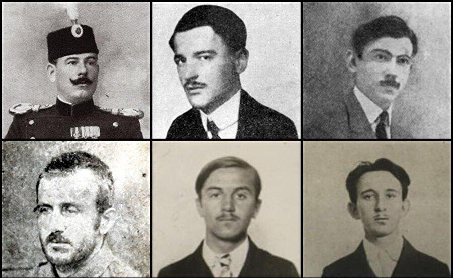 Sol üstten: Dragutin Dimitriyeviç, Nedeljko Çabrinoviç, Trifko Grabez, Muhammed Mehmedbasiç, Cvijetko Popoviç ve Vaso Cubriloviç