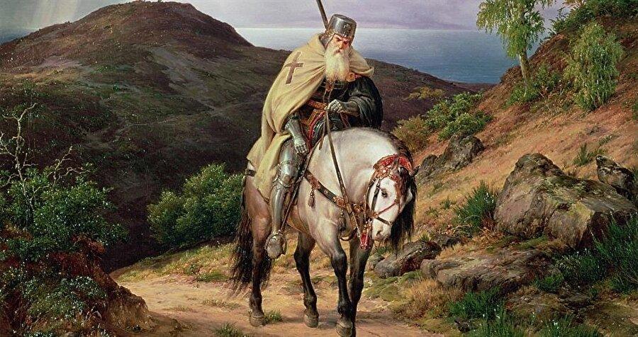 Karl Friedrich Lessing'in yorgun bir Haçlı'nın evine geri dönüşünü çizdiği resmi.