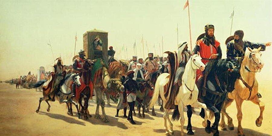 Aslan Yürekli Richard'ın ordusu ile birlikte Kudüs'e yürüyüşünü tasvir eden bir resim.