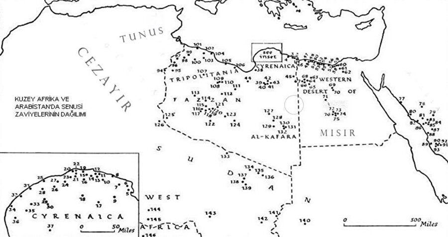 Senûsî zaviyeleri Kuzey Afirka'nın tamamına yayılmıştır