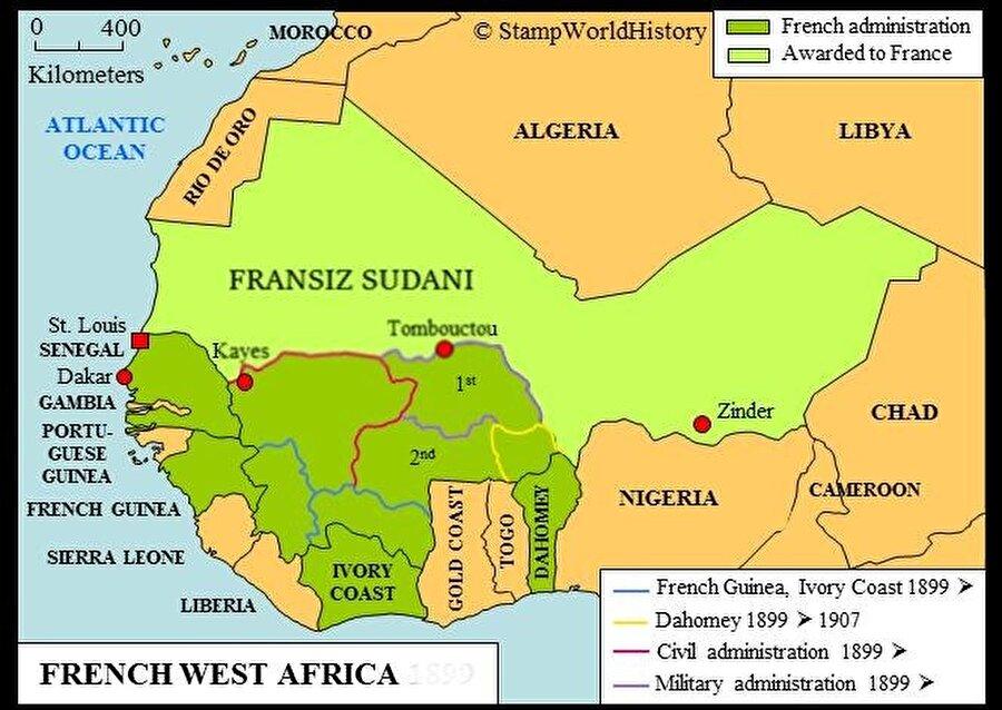 Kuzey Afrika'da Fransızların ilerleyişi ile oluşturduğu Fransız Sudanı adı verilen bölge.