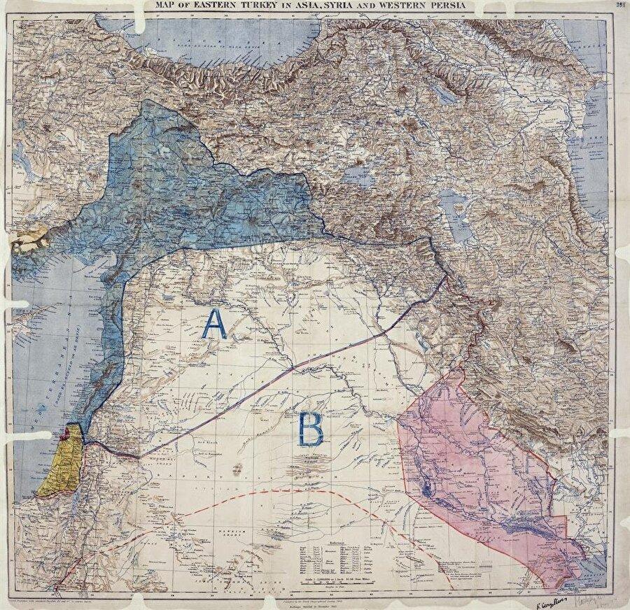 Sykes-Picot Anlaşmasının harita üzerindeki hali. A ile işaretlenen bölüm Fransızlara, B ile gösterilen bölüm İngilizlere pay edilmişti.