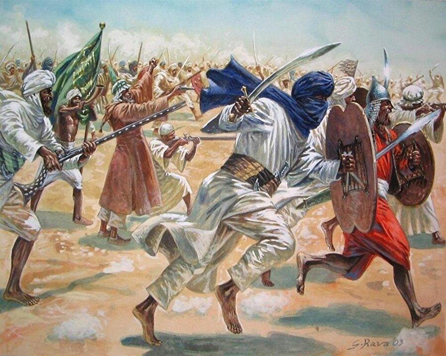 Mehdi'nin ordusunu tasvir eden bir resim.