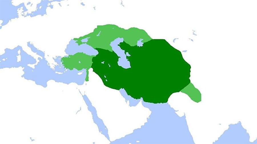 Timur İmparatorluğu'nun ulaştığı sınırları gösteren bir harita.