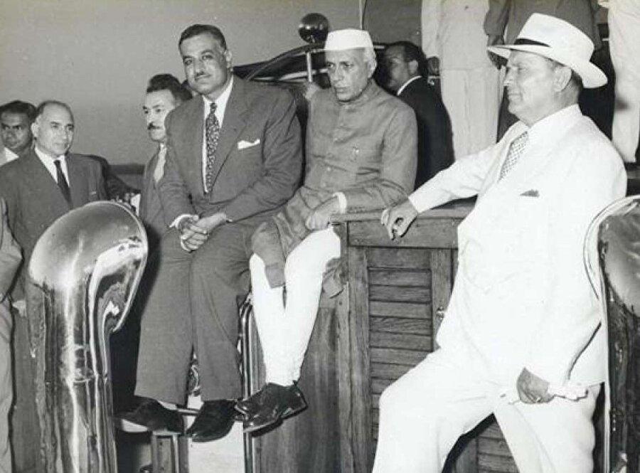 Mısır Cumhurbaşkanı Cemal Abdunnâsır, Hindistan Başbakanı Cavaharlal Nehru ve Tito, Belgrad'da, 1961.
