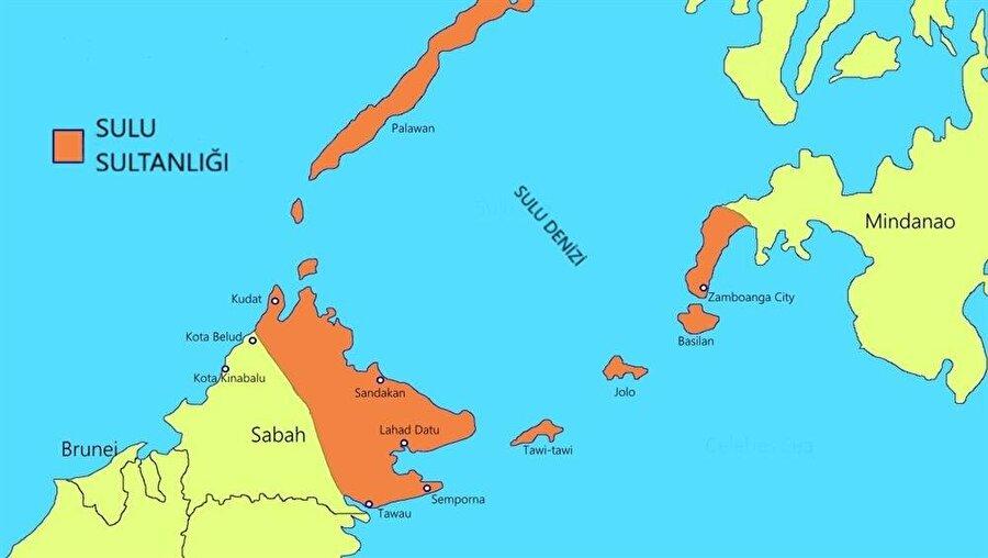 Sulu Sultanlığı'nın sınırlarını gösteren harita.