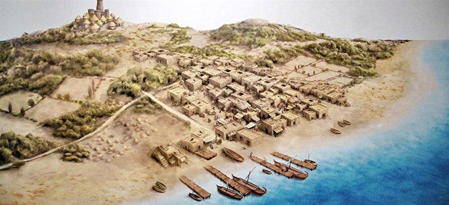 Fenikelilerin Akdeniz'deki Sardinya adasında kurdukları koloniyi resmeden bir çizim.
