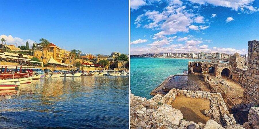 Lübnan'ın sahil şehirleri Cubeyl (solda) ve Sayda, Fenikelilerin izlerini taşır.
