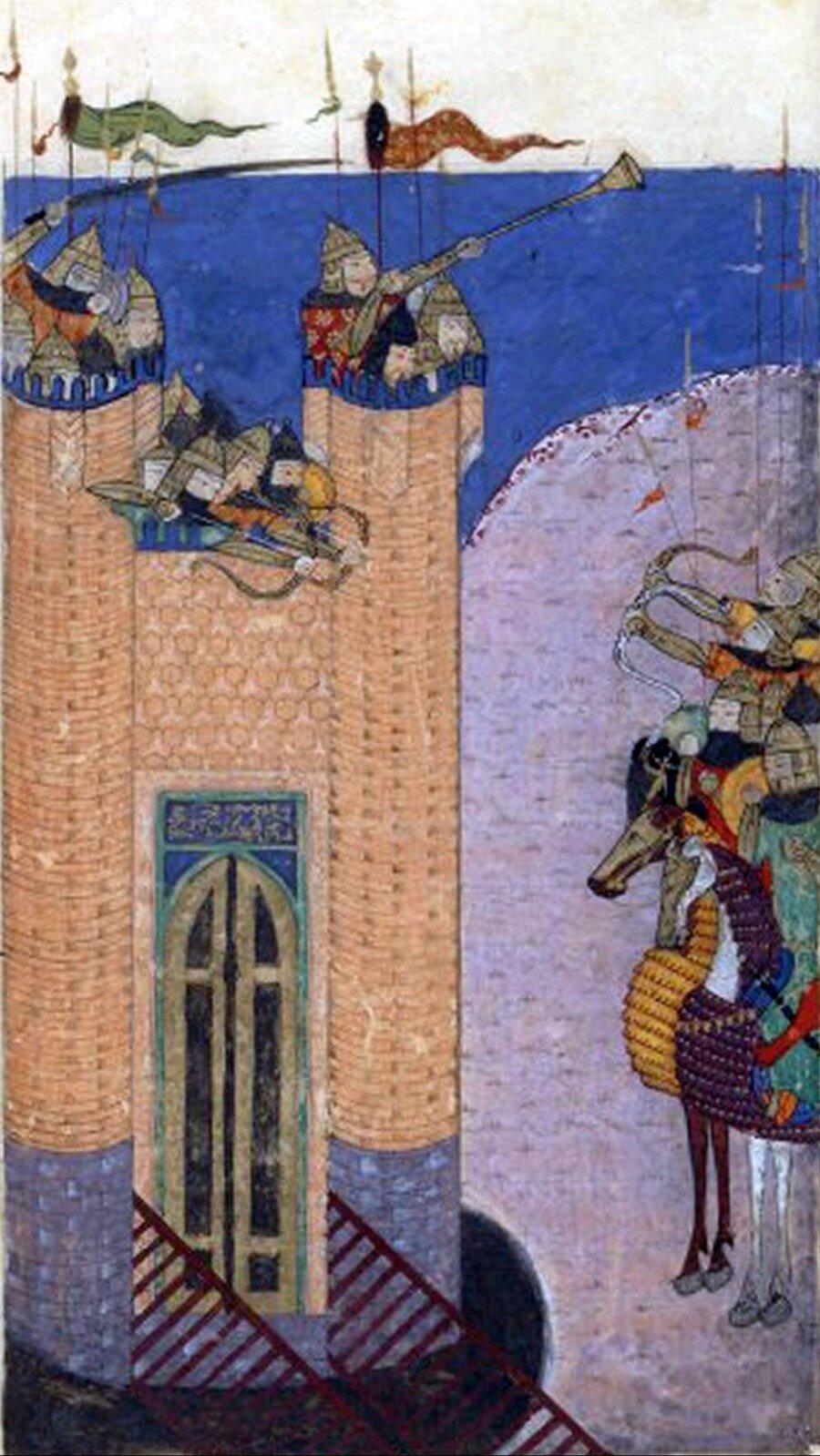 Alamut Kalesi'nin Hülâgû'nun ordusu tarafından ele geçirilişini gösteren bir minyatür.
