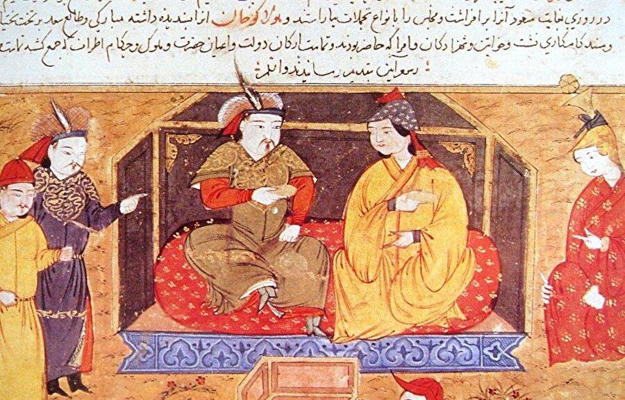 İlhanlı hükümdarı Hülagû Han ve karısı Dokuz Hatun 'un bir tasviri.