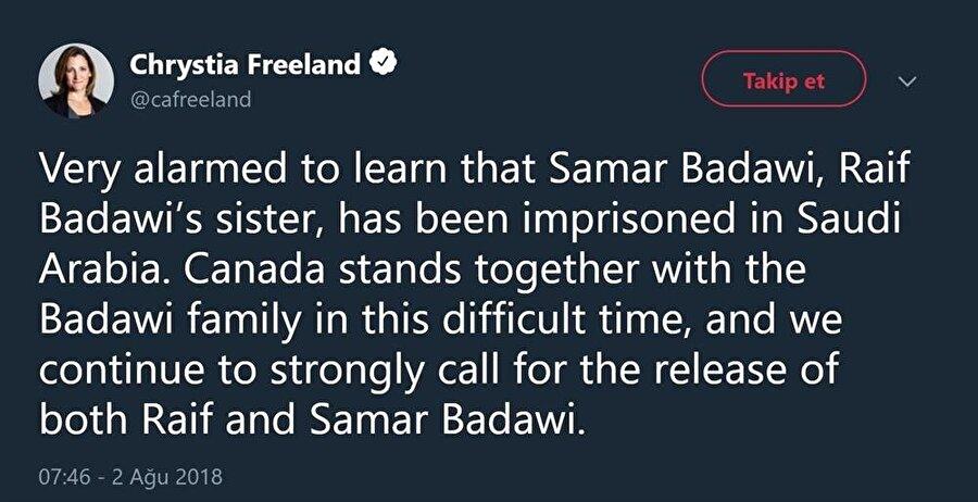 Kanada Dışişleri Bakanı Freeland'ın attığı tweet.