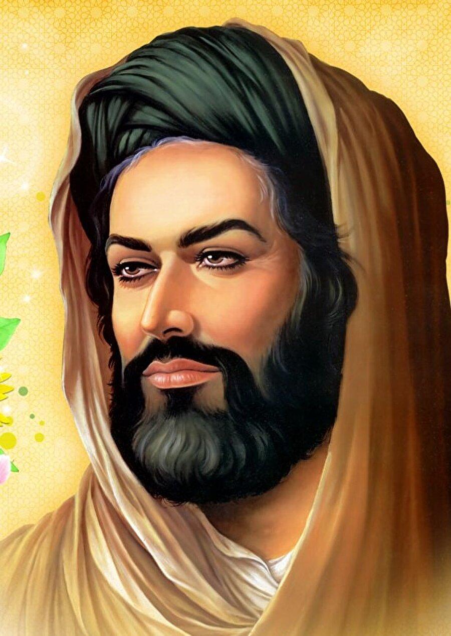 İmam Rıza'nın Şiî kültürüne göre yapılmış bir portresi.