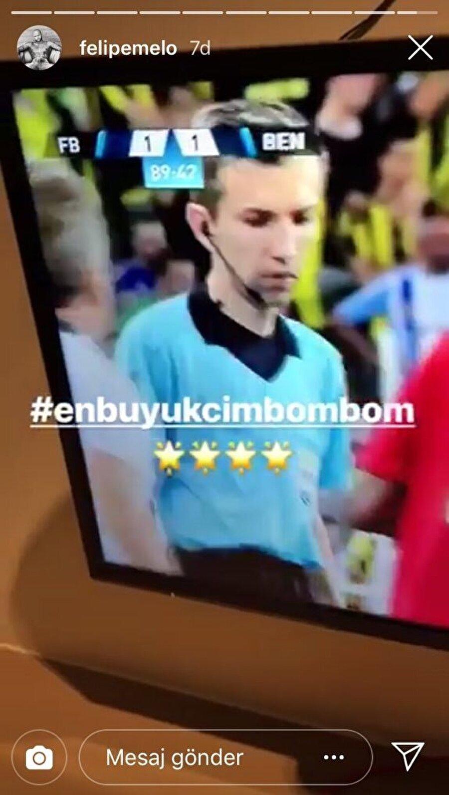 """Melo, Instagram hesabının hikaye bölümünde Fenerbahçe - Benfica maçından bir kare paylaştı ve """"En büyük cimbom"""" ifadesini kullandı."""