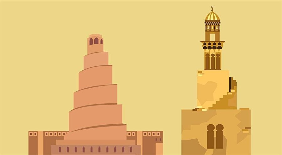 İbn Tulun Camii'nin minaresi (sağda), Sâmarrâ Ulu Camii'nin dıştan spiral minaresi (solda) örnek alınarak inşa edilmiştir.