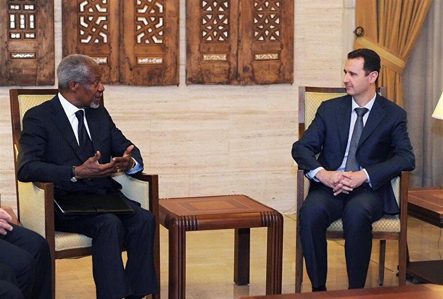 Kofi Annan, Suriye ile ilgili yürüttüğü barış görüşmeleri sırasında Beşşar Esed'le de bir araya gelmişti.