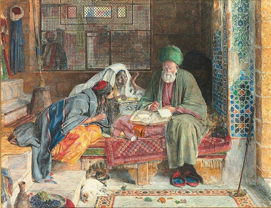 """John Frederick Lewis """"Arap kâtip"""" adlı tablosundaki kâtibin eskizi Bursa gezisi sırasında çizilmiş olmasına rağmen Lewis çalışmasını tablolaştırırken onu bir Arap olarak resmetti ve manzaraya iki kadın ekledi."""