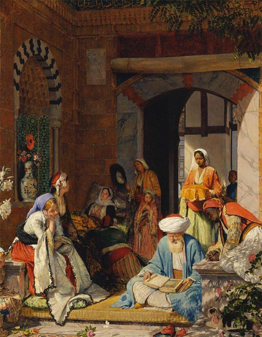 """Hastanın şifa bulması için Kur'an okuyan kişinin ve hasta yakınlarının resmedildiği, Lewis'in """"Dua hastayı kurtaracak."""" adlı tablosu."""