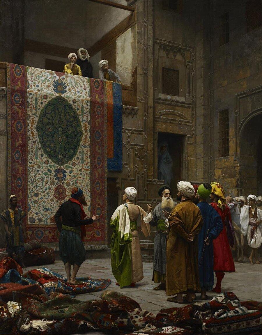 """Jean-Léon Gérôme'un """"Halı Satıcısı"""" tablosu, Doğu sokaklarını tasvir eden Oryantalist eserlerin en önemlilerinden biri."""