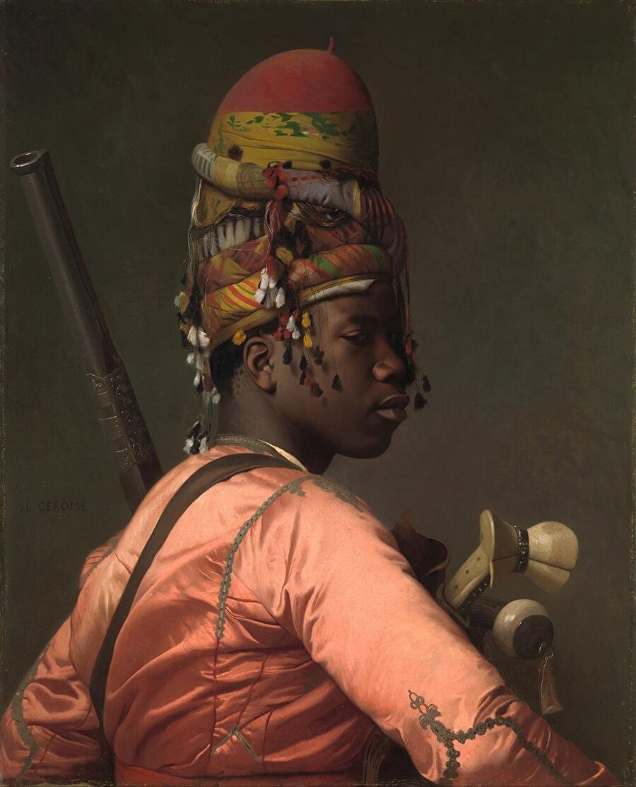 """Jean-Léon Gérôme'un Osmanlı ordusunun bir birliği olan Başıbozukların bir üyesini tavsir ettiği """"Başıbozuk"""" tablosu."""