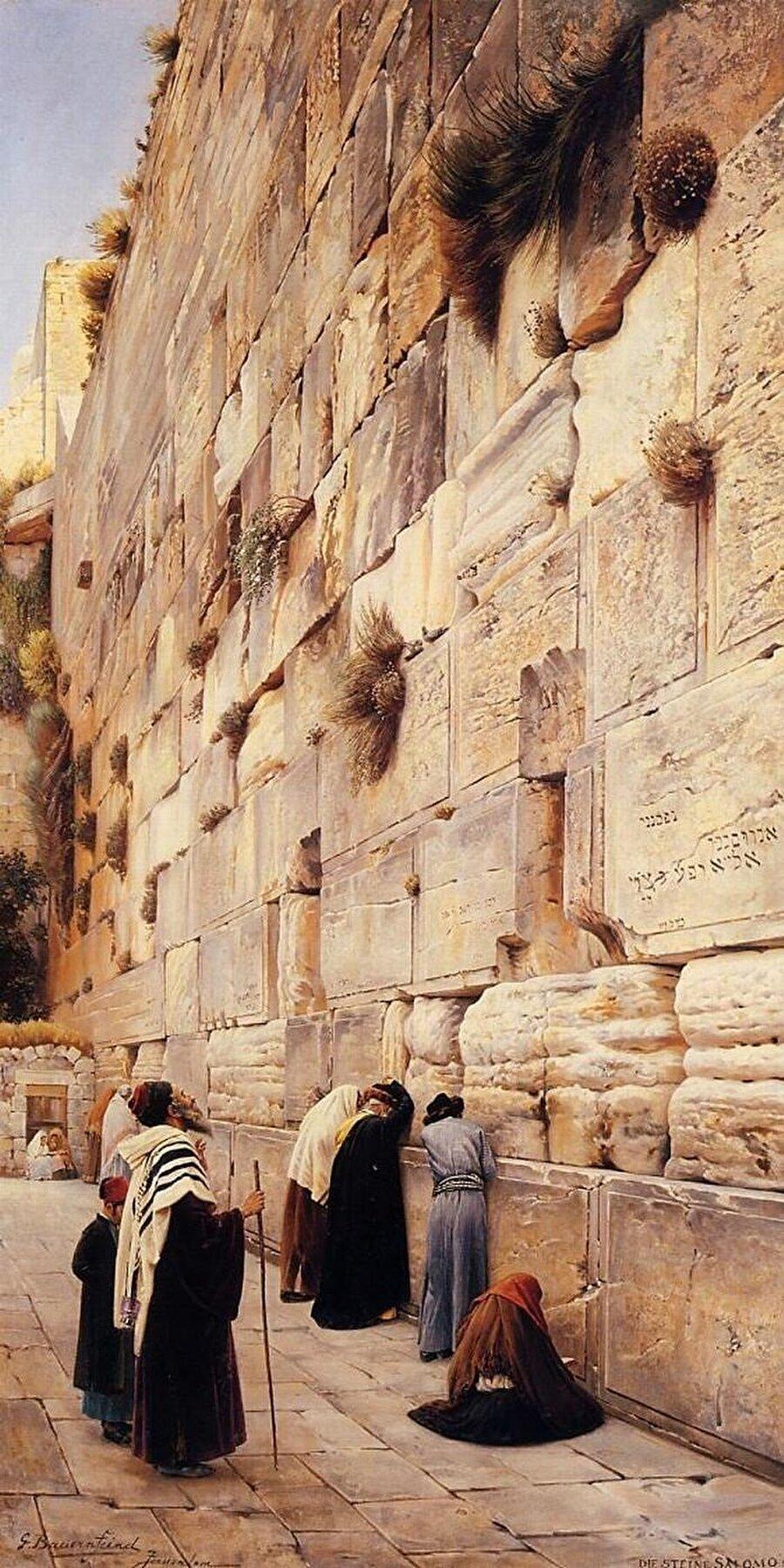 """Kendisi de Yahudi olan Gustav Bauernfeind """"Ağlama Duvarı"""" adlı tablosunda, Ağlama Duvarının karşısında ibadet eden Yahudileri resmetti."""