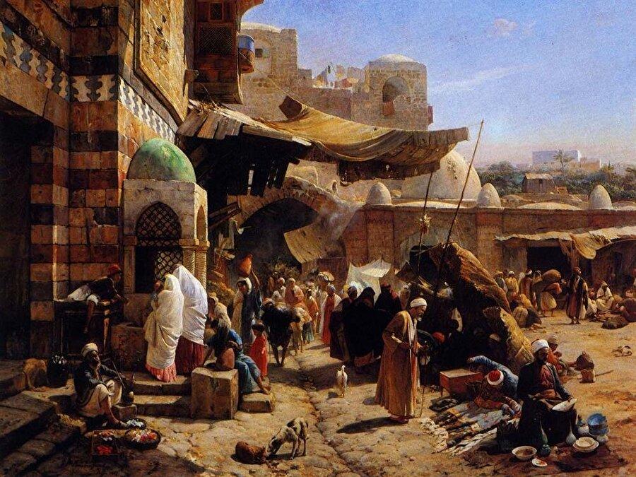 """""""Yafa çarsısı"""" adlı tablosunda olduğu gibi Gustav Bauernfeind Oryantalist tablolarında daha çok Filistin gezisinde gördüğü şehirleri tasvir etti."""