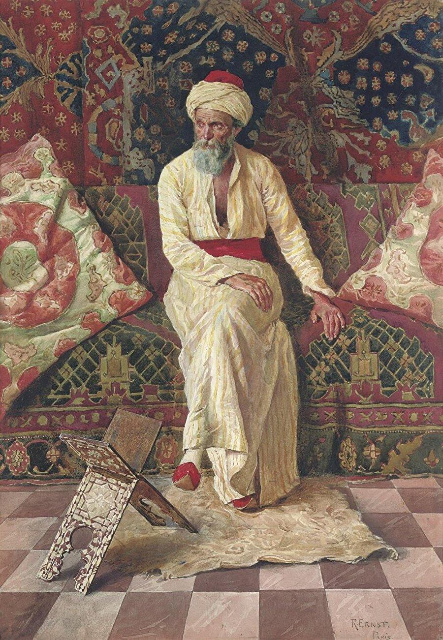 """Rudolf Ernst """"Düşünceli Şeyh"""" adlı tablosunda olduğu gibi daha çok Doğu insanlarını eserlerinde konu aldı."""