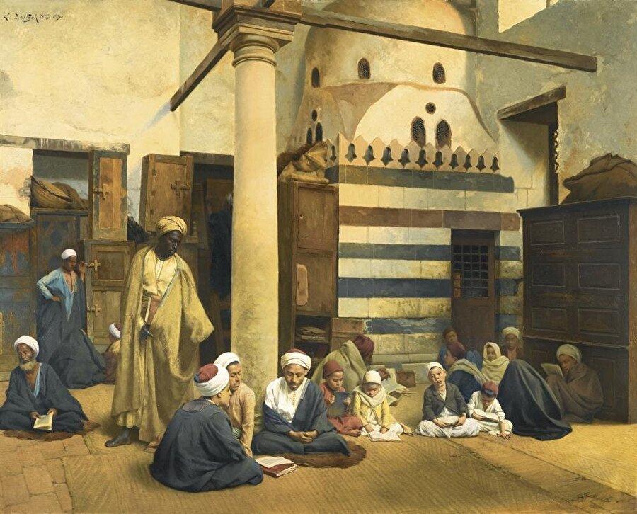 """""""Medresede"""" adlı tablosunda yaptığı gibi Deutsch birçok tablosunda alim ve medrese konularını ele aldı."""