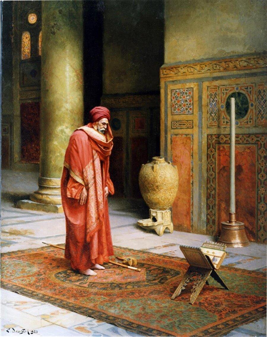 """Ludwig Deutsch'un """"Abid"""" adlı tablosunda görülebildiği gibi, namaz onun Oryantalist eserlerinin başlıca temalarından biri oldu."""