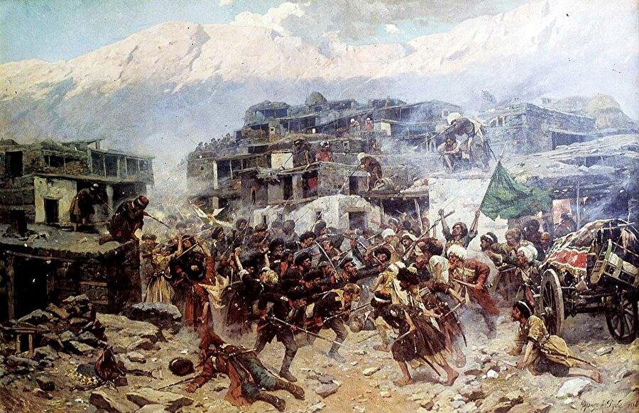 Müridizm hareketinin başlattığı direnişler sırasında Dağıstan dağlarında gerçekleşen bir çatışmayı tasvir eden bir tablo.