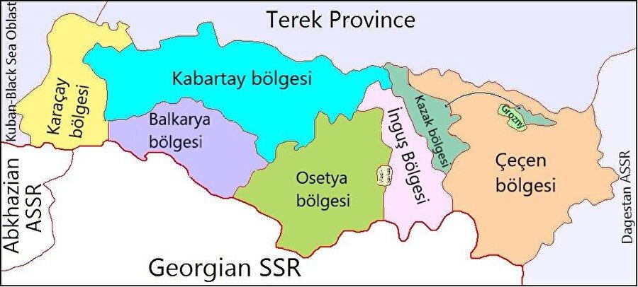 1921'de kurulan Dağ Özerk Sovyet Sosyalist Cumhuriyeti'nin eyaletlerini gösteren bir harita.