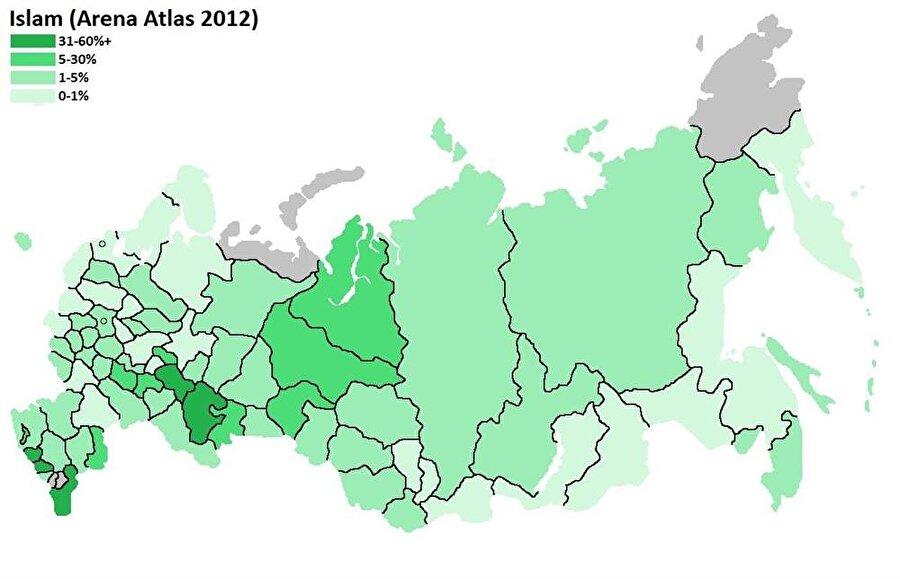 Rusya'daki Müslümanların yüzdelik konumunu gösteren demografik harita.