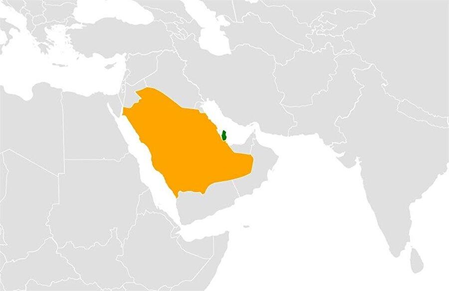 Katar, Suudi Arabistan topraklarının uzantısı şeklindeki bir yarımada durumunda.