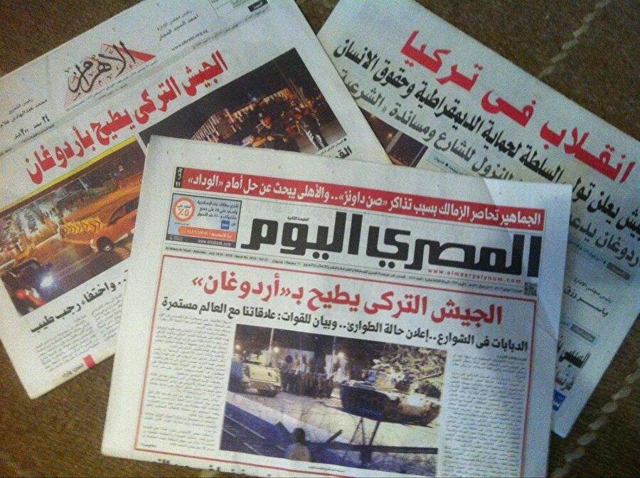 """Ordunun kontrolündeki Mısır medyası, Türkiye'de 15 Temmuz'da yaşanan darbe girişimini de yaptıkları yıldırım baskılarla duyurmuştu. Gazetelerin manşetinde, darbenin başarılı olduğu """"müjdelenmişti""""."""
