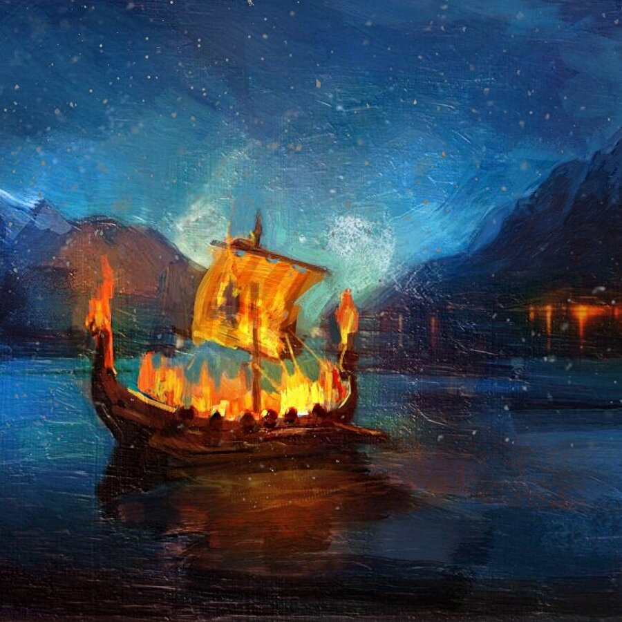 Vikingler ölen kişiyi kendi gemisine koyup, yaktıktan sonra, denize salardı.