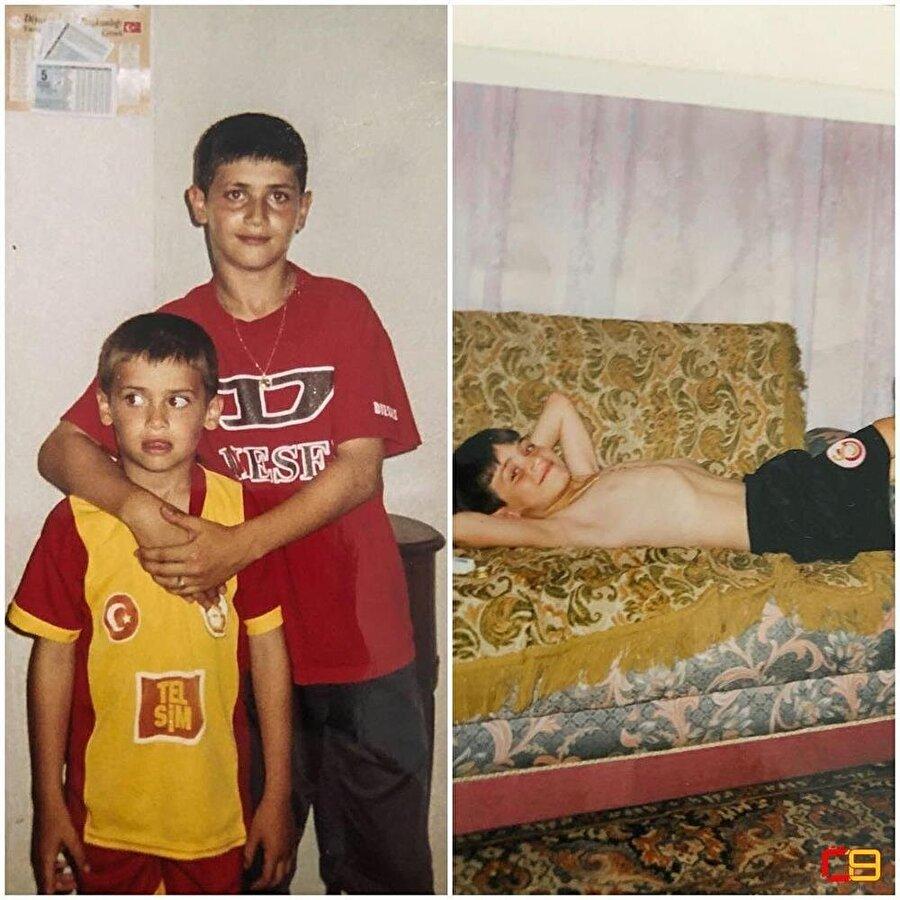 Ömer Bayram'ın çocukluğunda Galatasaray formasıyla çekilmiş fotoğrafları