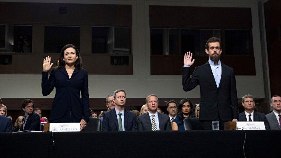 Jack Dorsey ve Sheryl Sandberg, duruşma boyunca gergin ifadeleriyle dikkat çekti.