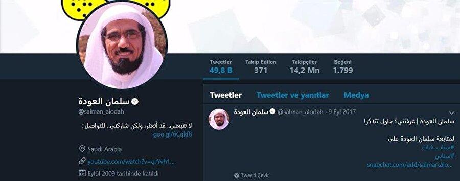 İngilizce yayın yaptığı sosyal medya hesabında 14 milyon takipçisi olan Selman el-Avde dünya genelinde farklı kesimlerden ilgi gören bir alim.