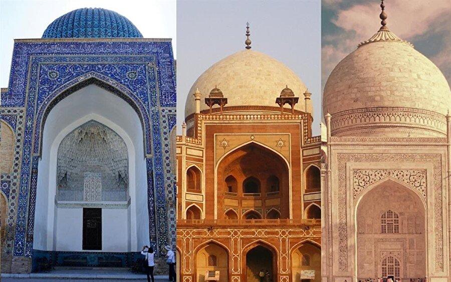 Hümayun Türbesi'nin (ortada) Gûr-i Emir'den (solda) miras olarak aldığı kemerli giriş, Babür mimarisinin ana unsuru olmuş, Tac Mahal (solda) gibi önemli eserlerde yer bulmuştur.