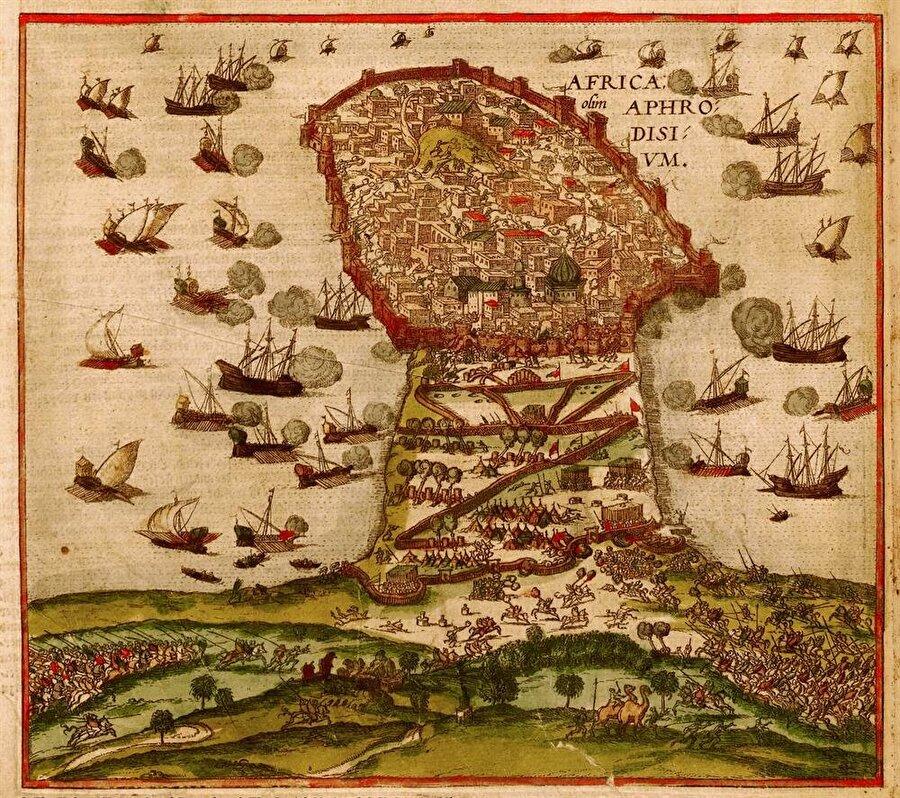 Haçlı kuvvetlerinin Mehdiyye kuşatmasını gösteren bir çizim.